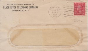 LOWVILLE NY - BLACK RIVER TELEPHONE CO - 1919 / 2ct COIL stamp + window envelope