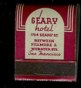 GEARY HOTEL San Fran 1940's Full Unstruck Matchbook