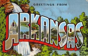 Linen Era,Large Letter, Greetings From Arkansas, Waterfall, Old Postcard