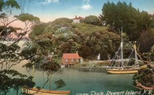 Thule Boats at  Stewart Island Vintage New Zealand Postcard
