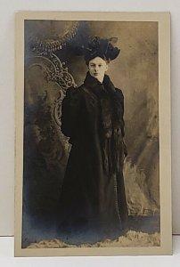 RPPC Victorian Woman Large Hat, Coat and Stole Shirleysburg Pa c1907 Postcard B9
