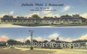 Palmetto Motel and Restaurant, Orangeburg, South Carolina, SC USA Hotel Postc...
