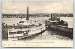 New London Connecticut~Public Landing & Ferry Slip~Steamer Orient Docked~1907