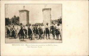 St. Augustine FL Menendez Day Native American Indians on Horses Postcard