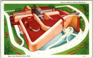 1939 New York World's Fair Postcard General Motors Exhibit Building w/ Cancel