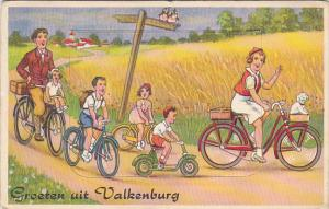 Greetings From Valkenburg Family Riding Bicycles with Fold Out 1956
