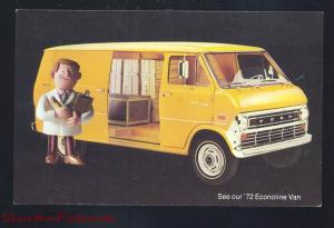 1972 FORD ECONOLINE VAN VINTAGE CAR DEALER ADVERTISING POSTCARD