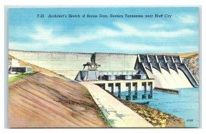 Postcard Architect's Sketch of Boone Dam, Eastern TN Bluff City linen unused W28