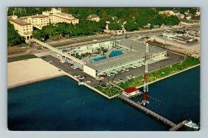 Biloxi MS-Mississippi, The Buena Vista Beach Motel, Aerial View, Chrome Postcard