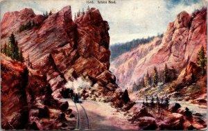 Train Sphinx Head Rock & Tunnel Moffat Road CO Colorado Postcard