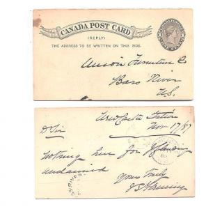 Queen Victoria 1C Reply 1887 Postal Stationery Split Ring Cancels Nova Scotia
