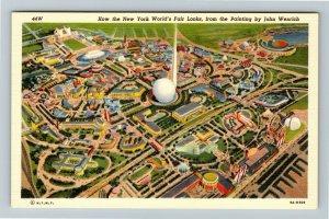 1939 New York World's Fair, Aerial View Painting by John Wenrich Linen Postcard