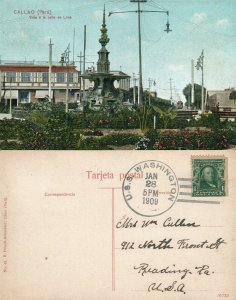 CALLAO PERU 1909 ANTIQUE POSTCARD VISTA A LA CALLE DE LIMA