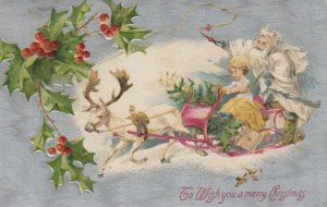 CHRISTMAS, 1908 ; White Suit Santa Claus in sled ; WINSCH
