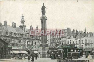 Postcard Old Lille Grand Place and Column Tram