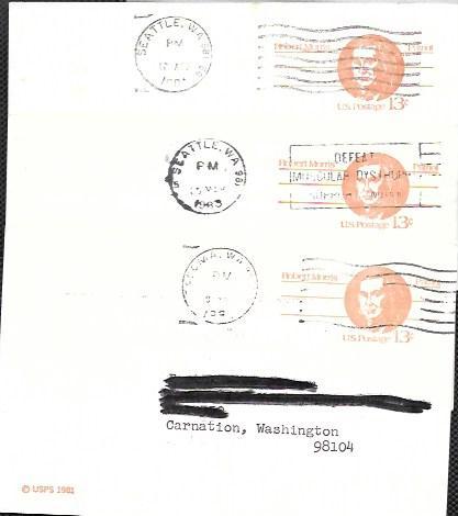 US  Pre-stamped cancelled Postcards UX 93 Robert Morris