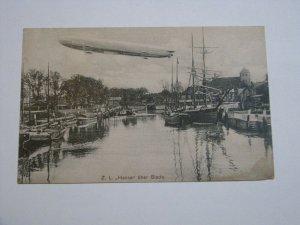 Postcard Germany Zeppelin Hansa Stade Shipyard Dock 1912 Postmark