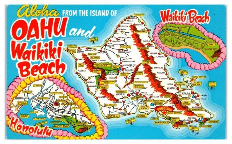 1960s Aloha From Oahu And Waikiki Beach Hawaii Map Postcard