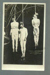 Santa Rosa CALIFORNIA RPPC 1920 TRIPLE LYNCHING Hanging COP KILLERS Police