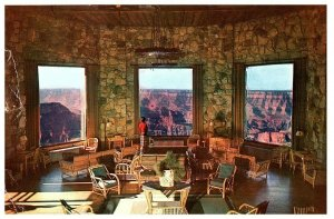 Lounge at the Grand Canyon Lodge Postcard with North Rim Cancel Posted 1961