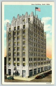 Enid Oklahoma~Bass Building~Neo-Gothic Architecture~Flag on Roof~1930s