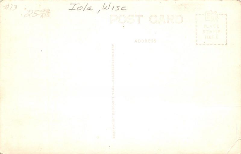 Iola Wisconsin~Main Street~Blatz Beer~Ford Car Dealer~Texaco~Meat~1940s RPPC
