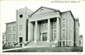 Vtg Postcard Hillsboro Illinois IL First Prebyterian Church CT Photo Finish UNP