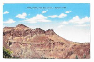 Fossil Rocks John Day Highway Oregon Vintage Forest Service Photo Linen Postcard