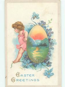 Pre-Linen Easter CHILD WITH SUNSET SCENE AB4120