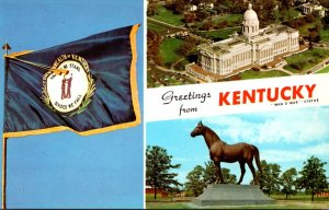 Kentucky Greetings With State Flag Man O War Statue & State Capitol Building