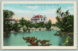Dallas Texas~Highland Park~AT Lloyd Estate~Lake View~Postcard