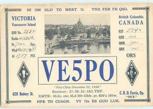 1930s QSL RADIO CARD Victoria - Vancouver Island British Columbia BC AH3279