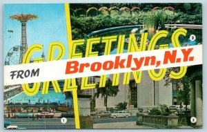 Postcard NY Banner Multiview Greetings from Brooklyn New York Coney Island P3