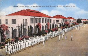 San Diego~US Naval Training Station~Parade Formation~1940s WWII Linen Postcard