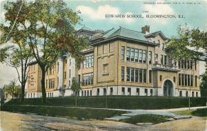 Bloomington Illinois~Edwards School~1910 Postcard