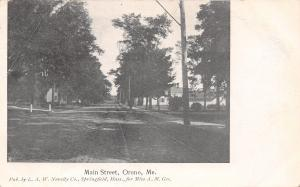 Orono ME~Interurban Trolley Tracks Down Main St~Home w/Driveway Posts c1906