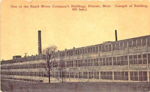 Pontiac MI Rapid Motor Company's Building, in 1913 Postcard