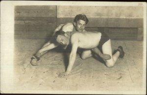 Shirtless Handsome Men Wrestling Gay Interest c1910 Real Photo Postcard