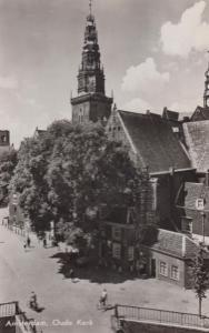 Amsterdam Oude Kerk Bicycle Bicycles Real Photo Dutch Postcard