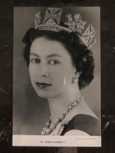 Mint England RPPC Postcard HM Queen Elizabeth II Crowned