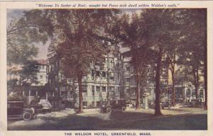 The Weldon Hotel, GREENFIELD, Massachusetts, 1910-1920s