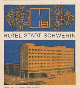 GERMANY SCHWERIN HOTEL STADT VINTAGE LUGGAGE LABEL