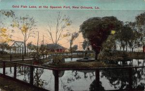 Gold Fish Lake, at the Spanish Fort, New Orleans, LA, Early Postcard, Unused