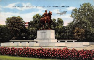 Civil War Post Cards General forest monument in Forest Park Memphis, Tennesse...