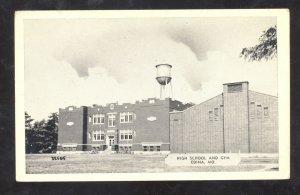 EDINA MISSOURI HIGH SCHOOL BUILDING WATER TOWER VINTAGE POSTCARD