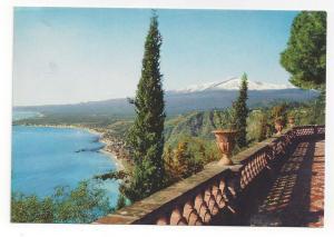 Italy Taormina Sicily Panorama View Giardini Etna Postcard