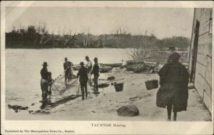 Taunton MA Herring Fishing Men Using Nets c1905 Postcard