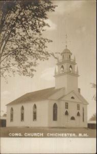 Chichester NH Cong Church c1910 Real Photo Postcard