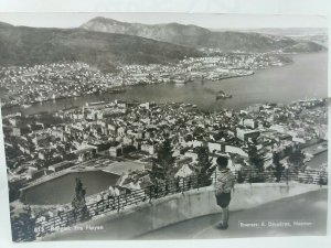 Bergen Fra Fløyen Norway Aerial View  Vintage RP Postcard