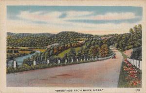 Rowe Massachusetts Greetings Roadway Scenic Linen Vintage Postcard J927108
